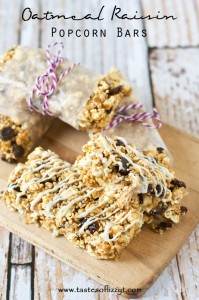 Oatmeal Raisin Popcorn Bars Recipe