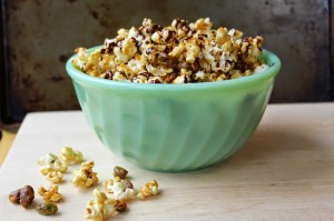 Dark Chocolate & Pistachio Caramel Corn Recipe